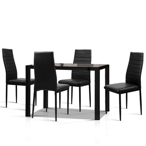 Astra 5-Piece Tempered Glass Dining Set - Black
