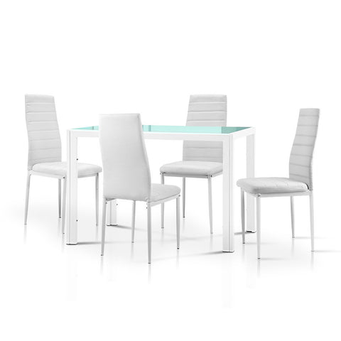 Astra 5-Piece Tempered Glass Dining Set - White