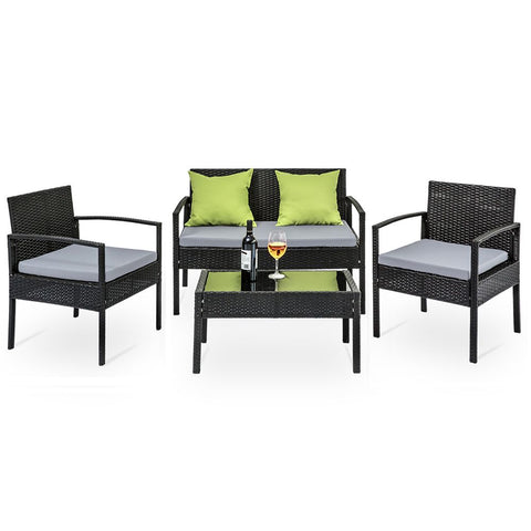 4 Seater  Outdoor Wicker Lounge Setting  - Black