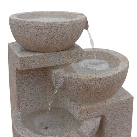 Solar Powered 4 Tier Water Fountain with Light - Sand Beige