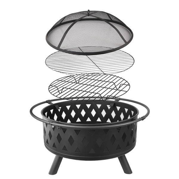 Portable Outdoor Fire Pit and BBQ - Black 32""