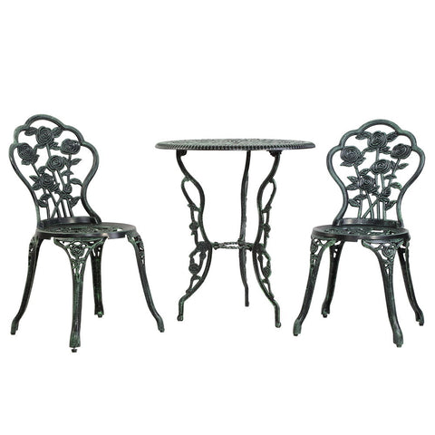 Gardeon Outdoor Furniture Chairs Table 3pc Aluminium Bistro -Green