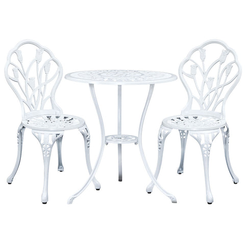 Gardeon Outdoor 3pc Aluminium Bistro Chairs Table 3pc Aluminium Bistro -White