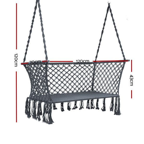 Portable Patio 2 Seater Hammock Rope Swing - Grey