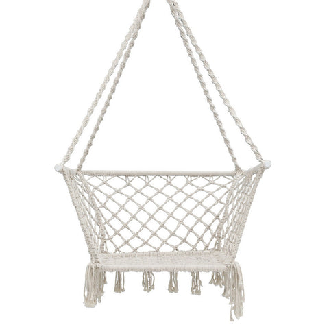 Portable Patio Hammock Rope Swing -  Cream