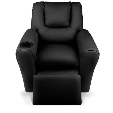 Kids PU Leather Reclining Armchair - Black