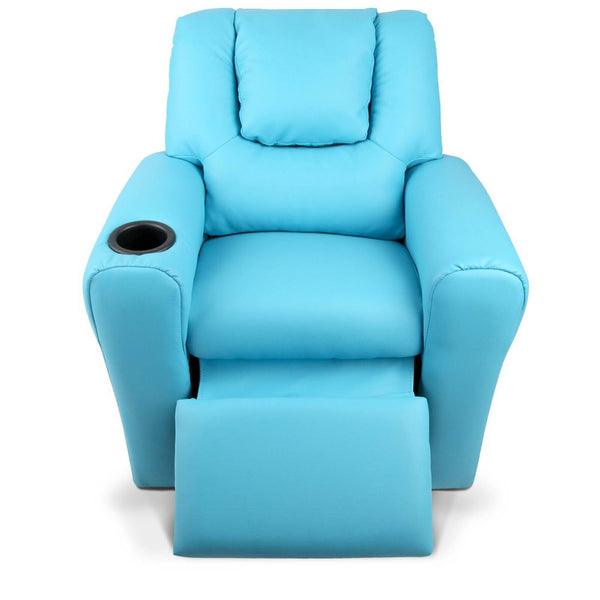 Kids PU Leather Reclining Armchair - Blue