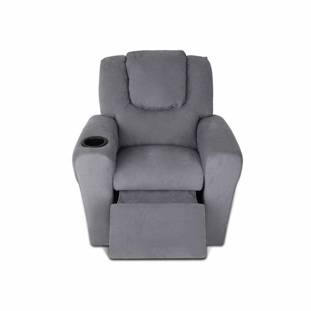 Kids Fabric Reclining Armchair in Grey