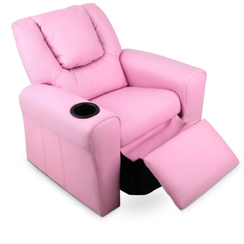 Kids PU Leather Reclining Armchair - Pink