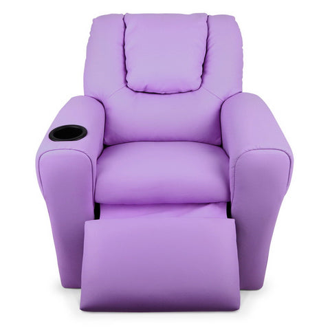 Kids PU Leather Reclining Armchair - Purple
