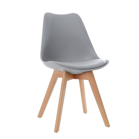 4x Retro Replica Eames Dining Chairs PU Leather Padded Beech Wood Legs - Grey