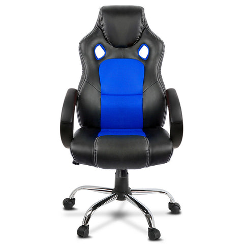 Racing Style PU Leather Gaming Chair - Blue