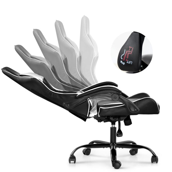 Racer Gaming Chair Recliner - Black & White
