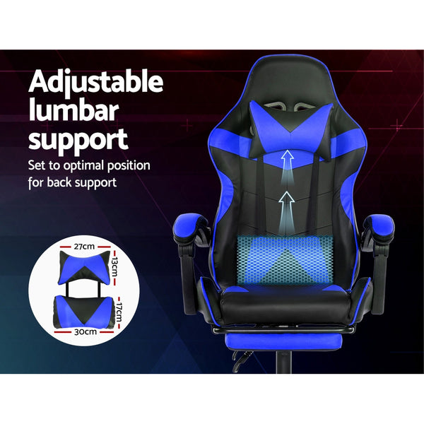 Racer Recliner Gaming Chair with Footrest - Black & Blue