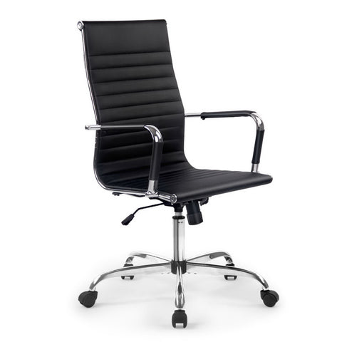 Eames Executive Replica Office Chair - Mid Back Seating PU Leather Black