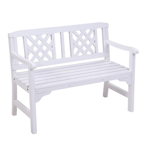 Garden Bench 2 Seat Timber Lounge Chair - White