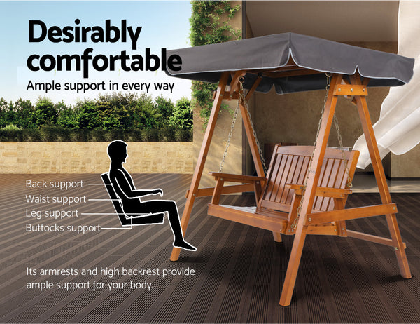 2 Seater Canopy Swing Chair Teak