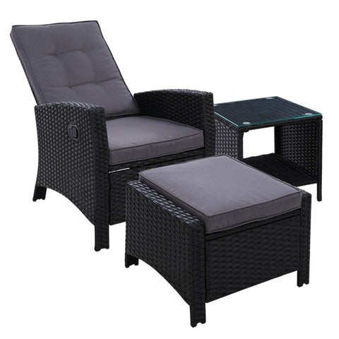 Gardeon Wicker Recliner lounge Outdoor Setting - Black