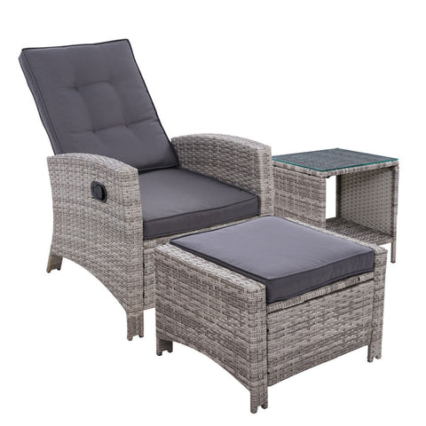 Gardeon Wicker Recliner lounge Outdoor Setting - Grey