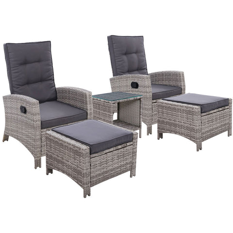 5pc Outdoor Wicker Recliner Chairs & Table Setting - Grey