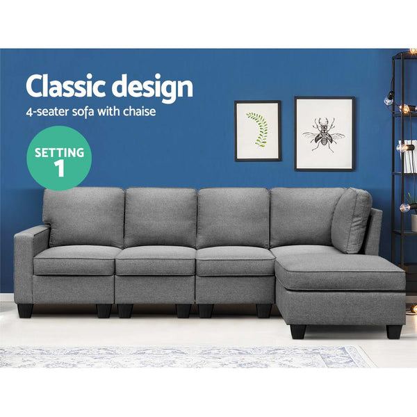 5 Seater Modular Sofa Chaise in Grey
