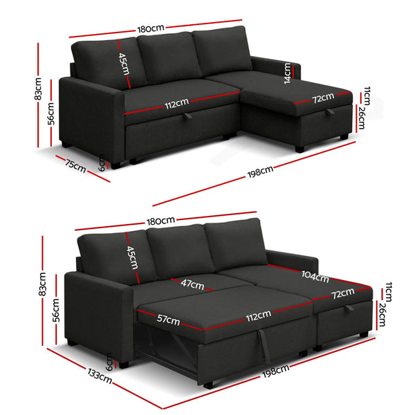 3 Seater Sofa Bed with Storage Charcoal