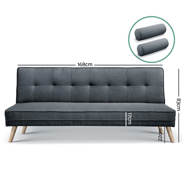 3 Seater Fabric Sofa Bed in Charcoal