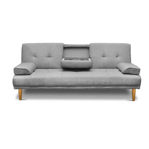 Three Seater Fabric Sofa Bed with 2 Cup Holder Grey