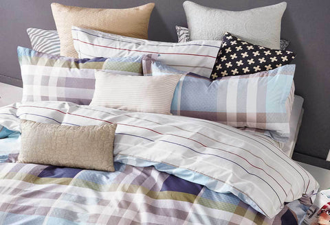 King Rectangle and Strips Pattern Quilt Cover Set