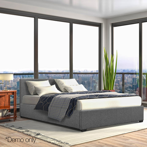 Double Fabric and Wood Bed Frame Grey
