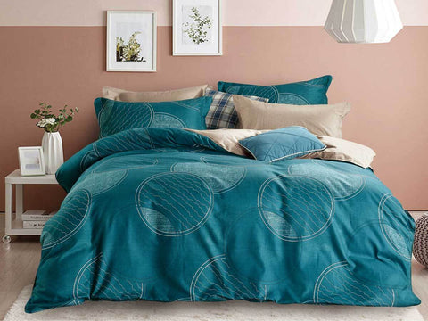 King Size Turquoise Circle Quilt Cover Set
