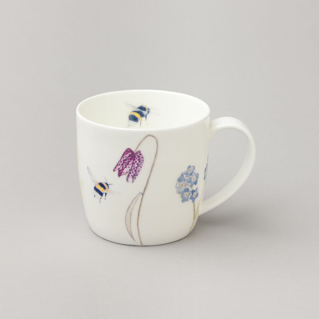 bee and wildflower mug, bee gift, bee china
