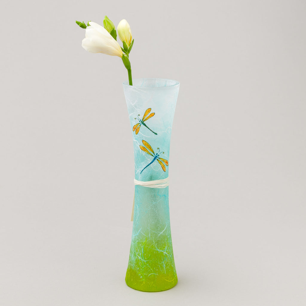 Pretty dragonfly strawsilk glass vase