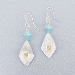 Chalcedony, quartz and silver earrings with 18ct gold