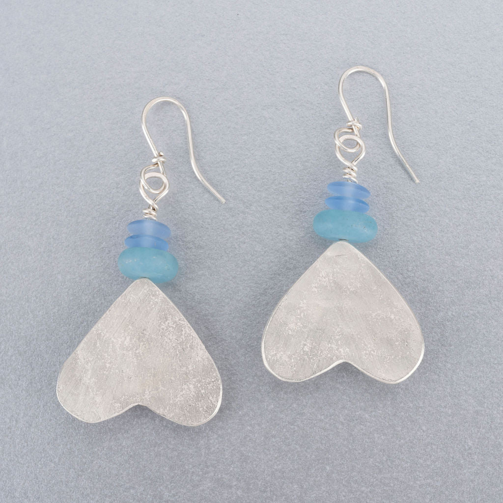 Amazonite, sea glass and silver earrings
