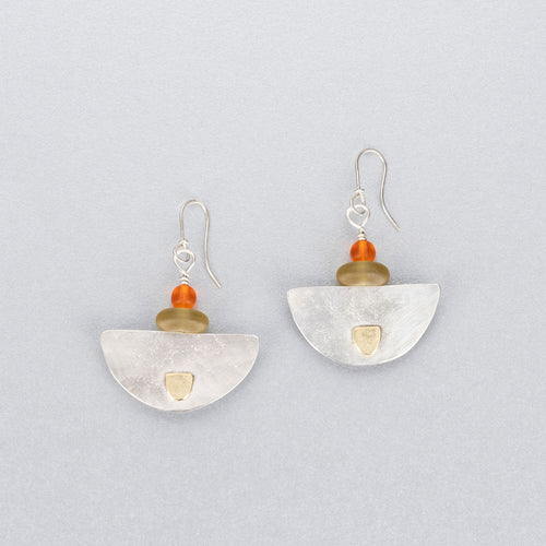 Sea glass, quartz, silver and 18 ct gold earrings