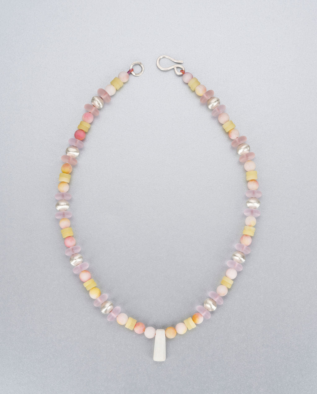 Sea glass, candy jade, lemon jade, fire Opal and silver necklace