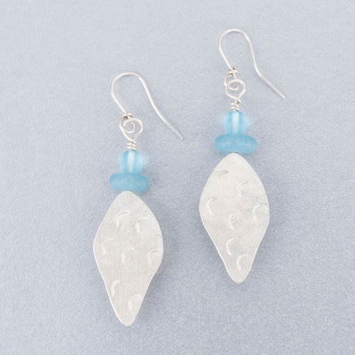 Sea glass, quartz and silver earrings