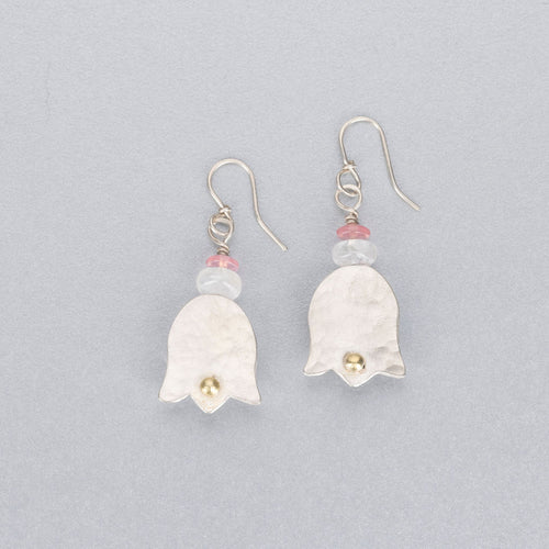 Moonstone, rose quartz, silver and 18 ct gold earrings