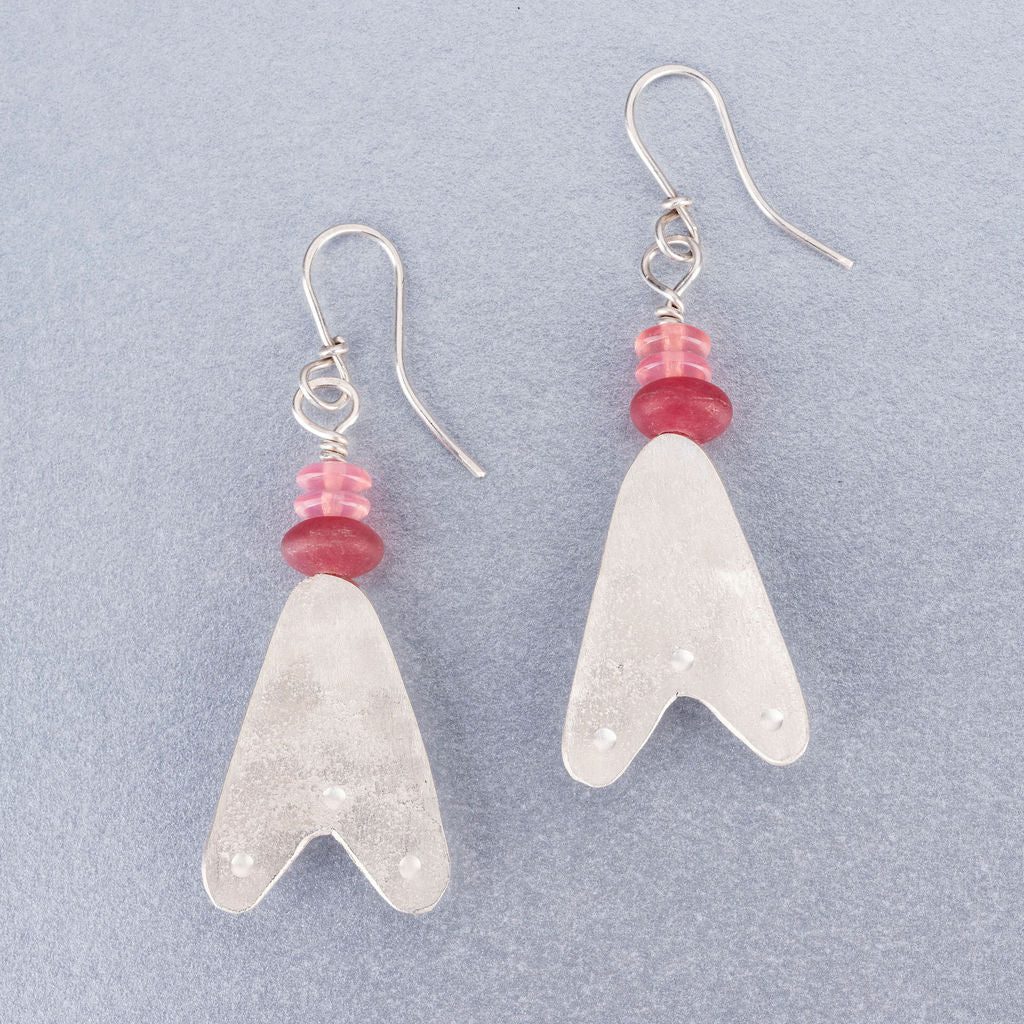 Quartz, rose quartz and silver earrings
