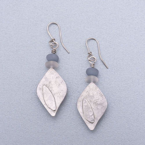 Angelite and quartz silver earrings