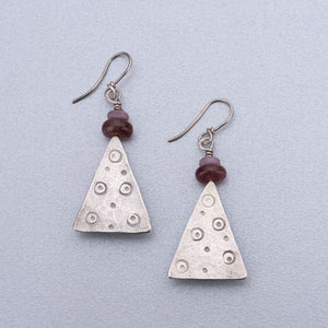 Muscovite and phosphosiderite silver earrings