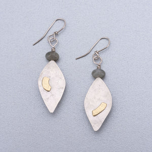 Labradorite silver earrings with 18ct gold