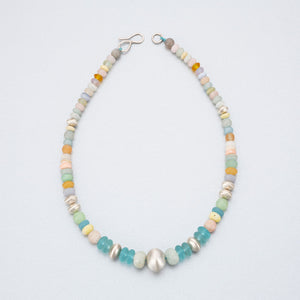 Semi-precious stones and silver beaded necklace