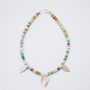 Semi-precious stones and silver leaf pendants with 18ct gold
