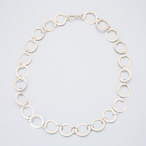 Hand beaten silver chain with flattened oval links