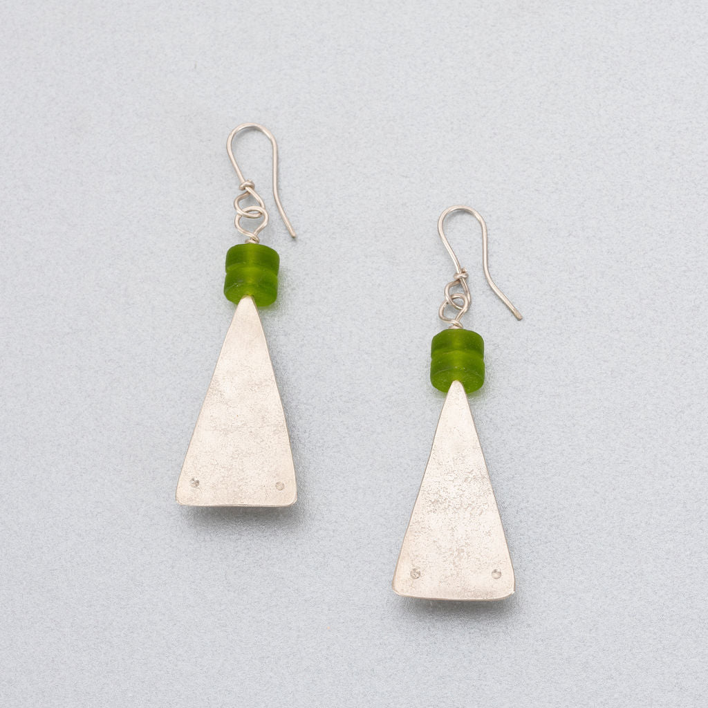 Sea glass and silver earrings