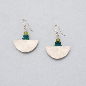 Green onyx, agate, sea glass and silver earrings