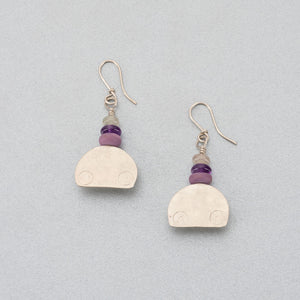 Phosphosiderite, amethyst, moonstone and silver earrings