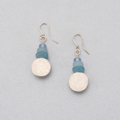 Quartz, sea glass and silver earrings